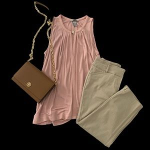 Sleeveless Flowy Blouse with Gold Clasp Detail